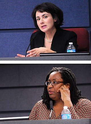Trustees Gina Hinojosa (above) and Tamala Barksdale argued for three-year contracts for teachers and professional employees.
