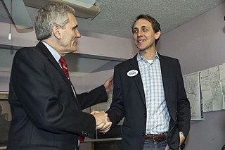 Congressman Lloyd Doggett (l) stands by ally Andy Brown.