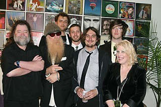 The 13th Floor: (l-r) Roky Erickson, Billy Gibbons, Okkervil River, and Moser backstage at the 2008 AMAs
