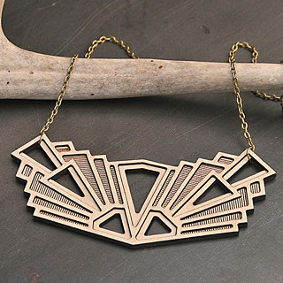 Art deco statement necklace in lightweight laser-cut birch by local jewelry maker Diamonds Are Evil