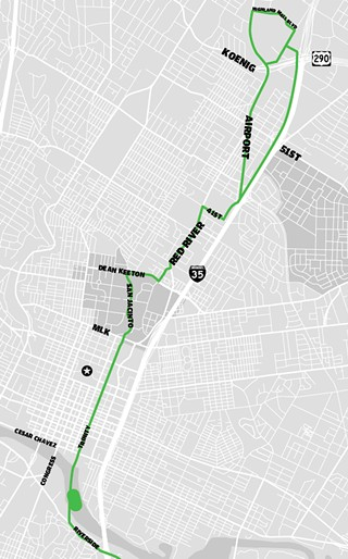 Take the train: Proposed Project Connect urban rail line from Highland Mall area to Riverside, showing approach to MLS stadium (Should the proposed AUSRA charter amendment pass, the entire project would move approximately one mile west.)