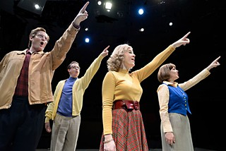 (l-r) Scott Shipman, Tyler Jones, Rachel Dunk, and Brittany Allyson in <i>Merrily We Roll Along</i>