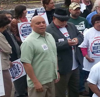 Mike Martinez and supporters at Barton Springs