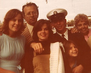 Navy boot camp graduation:  (l-r) Janette (his later ex-wife), Gary Poulter Sr., sister Debbie, Gary, sister Maria, Poulter's mother Carolyn