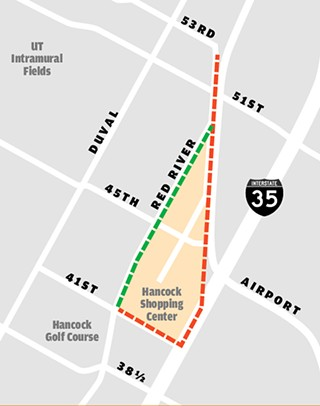 The Hancock Tunnels: The draft plan now includes a tunnel from Hancock Center to Airport Blvd., on one of two routes: A western option would go straight up Red River; the more expensive eastern option would include a Transfer Station near Airport and I-35.