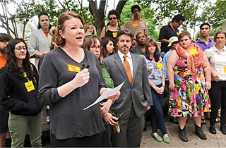NARAL Pro-Choice Texas Executive Director Heather Busby speaks at a Rise Up Texas press conference April 21 calling for the dismissal of charges against HB 2 protesters.