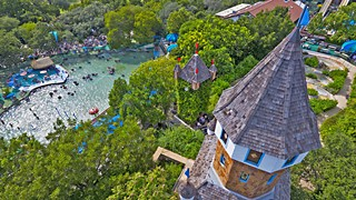 The beloved castle landmark of the New Braunfels flagship park from a bird's-eye view