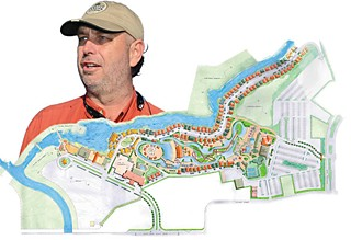 Schlitterbahn principal, co-owner, and inventor, Jeff Henry, and the schematics to the new Schlitterbahn Water Park & Resort in Corpus Christi, opening summer, 2014