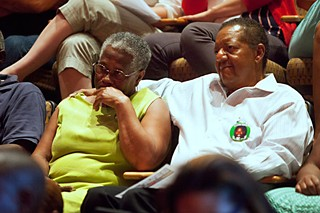 Billie and Larry Mercer, mother and stepfather of Larry Jackson, at an August 2013 community meeting to address the police shooting