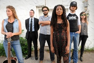 The Austin Six: (l-r) Carson McHone, Mrs. Glass, Jesse Moore, Aisha Burns, Leo Rondeau, Dana Falconberry