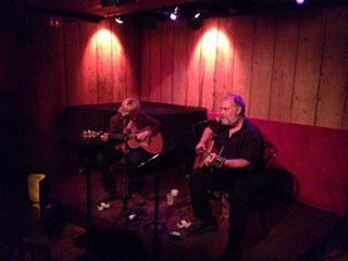 Jon Dee Graham (right) and myself onstage at Rockwood Music Hall.