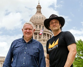 Mayor Lee Leffingwell and Robert Rodriguez look forward to some sunny days as El Rey makes Austin its permanent home