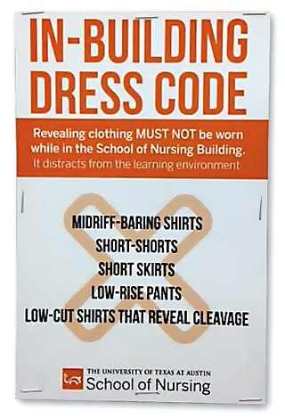 The offending dress code sign was eventually taken down because it was too distracting.