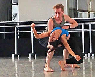 Michelle Thompson and Oliver Greene-Cramer rehearsing Variations on Surrender