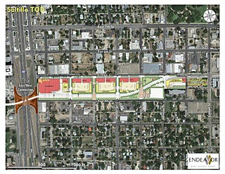 Endeavor proposes a full-service grocery store fronting I-35, adaptive reuse of existing structures, park space with residential units along East Fourth Street, and commercial businesses on East Fifth.