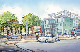 A Saltillo Collaborative-proposed residential complex at the east end of the 11-acre development site.