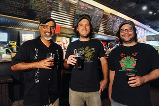 Whip In owner Dipak Topiwala (l), with brewer Ty Wolosin and head brewer Kevin Sykes (r)