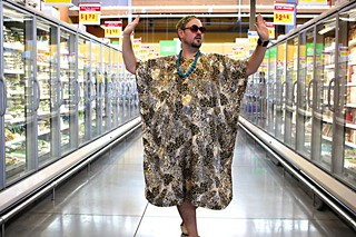 Comedian Ralph Hardesty stops foot traffic in the frozen food aisle with his billowy ensemble.