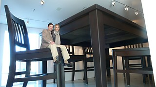 Glenn and Amanda Fuhrman with Robert Therrien's <i>Table and Four Chairs</i>, 2003.