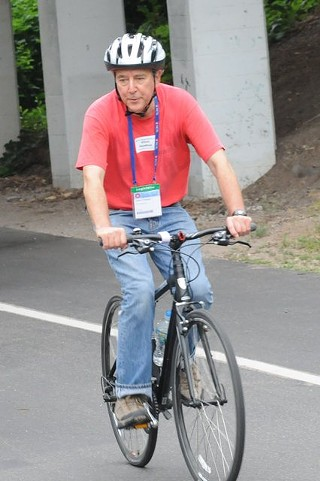 Rep. Elliott Naishtat during the 10th annual National Conference of State Legislatures Bipartisan Bike Ride, organized by BikeTexas