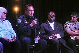 Margo Frasier, Art Acevedo, Nelson Linder, and Darren Long at Tuesday's Police Accountability Forum. For coverage, see <a href=/daily/news/>Newsdesk</a>.