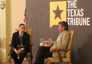 Story time: Texas Tribune boss Evan Smith (l) listens as UT System Regent Wallace Hall lays out his conspiracy theory