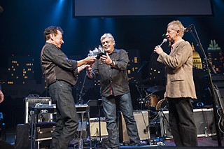Joe Ely (l) and Lickona present Lloyd Maines with an <i>Austin City Limits</i> Hall of Fame Award earlier this year