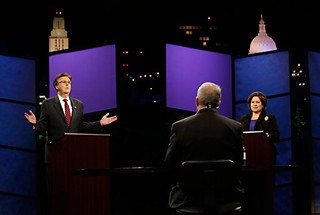 State senators Dan Patrick, R-Houston, and Leticia Van de Putte, D-San Antonio, square off in the only lieutenant governor's race of the election season at KLRU-TV studios in Austin earlier this week.