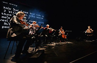 The Kronos Quartet and Laurie Anderson performing <i>Landfall: Scenes From My New Novel</i> at the Barbican Centre in London in June 2013.