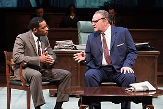 Dr. Martin Luther King Jr. (Kenajuan Bentley) and President Johnson (Jack Willis) confer about the 1965 Voting Rights Act.