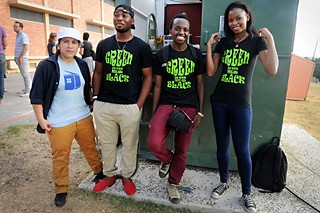Angelica Jelly Erazo (l), Michael Meek Esuruoso, Charles Tuyishime, and Jena Hill of Green Is the New Black at the Dumpster Project in September