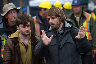 Daniel Radcliffe and Alexandre Aja on the set of <i>Horns</i>