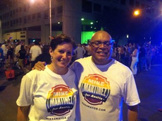 Council Member Martinez with his wife Lara Wendler at this year's Pride parade