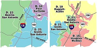 In Redistricting Committee Chairman Joe Crabb's original proposal (left), Austin would be split between three out-of-town GOP congressmen: San Antonio's Lamar Smith and Henry Bonilla and Surfside's Ron Paul. 