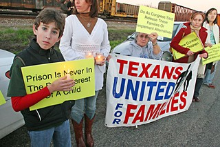 Protesters outside the T. Don Hutto Detention Center in 2007