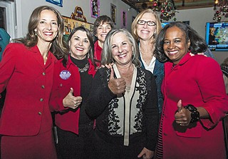 (l-r) City Council Member Kathie Tovo, Barbara Rush, Danette Chimenti, Leslie Pool, CM Laura Morrison, and Mayor Pro-Tem Sheryl Cole