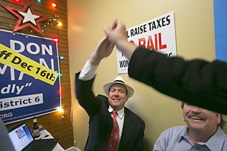 Council Member-elect Don Zimmerman celebrates his win election night.