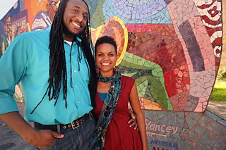 Kevin Thomas (l) and Naya Jones of Food for Black Thought