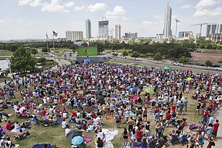 Austin's two big soccer stories of 2014 came together July 1 as the Austin Aztex organized a massive watch party for 5,000 fans on the Long Center grounds.