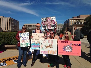 Pro-choice supporters at the Capitol on Saturday