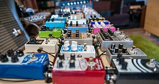 EarthQuaker's demonstration pedal board - not the World's Biggest, but Doug Niemczura hauls it around nonetheless