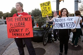 Protesters call on Texas officials to bring justice to Rodney Reed at a January rally.