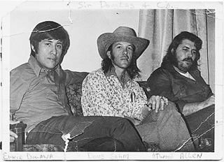 The Return of Doug Saldaña: (l-r) Ernie, Doug Sahm, and Atwood Allen in Durawa's living room, circa 1969