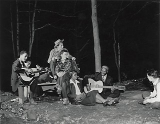 Hootenanny: (l-r) Josh White and wife, unknown couple, Lead Belly and wife, and Alan Lomax far right, late Forties