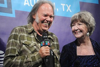 Neil Young (l) and Charlotte Stewart at the <i>Human Highway </i>screening