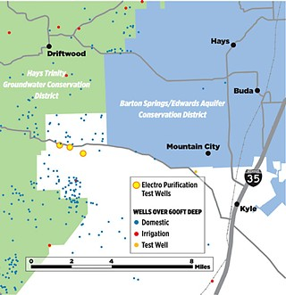 Electro Purification plans to double the amount of water they're pumping from their wells in northern Hays County; a recent study suggested that this could cause water levels in existing nearby wells to drop by up to 500 feet. The EP wells lie in a white zone, not covered by either the Hays Trinity GCD, or the Barton Springs/Edwards Aquifer CD.