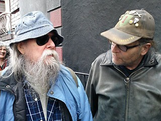 Tommy Hall (l) and his friend George Ripley in San Francisco, 2015. The pair hopped Amtrak for Austin Tuesday morning.