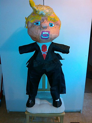 Those of you in search of a locally made Trump-bashing option are in luck: Jumpolin owners Sergio and Monica Lejarazu, who know about unscrupulous real estate developers, sent in this photo of their version of the popular piñata subject. Orders can be placed by visiting Jumpolin's Facebook page or calling 512/424-9511.