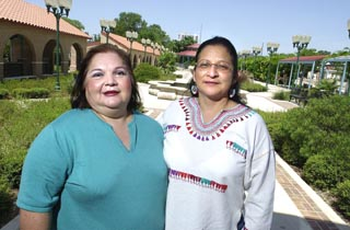 Saltillo District Community Advisory Group appointees  Cathy Vasquez-Revilla (l) and Susana Almanza at Plaza Saltillo