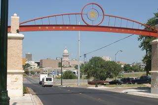 The gateway arch on 11th Street symbolizes the ARA's vision of relinking Central East Austin to Downtown and the city at large.